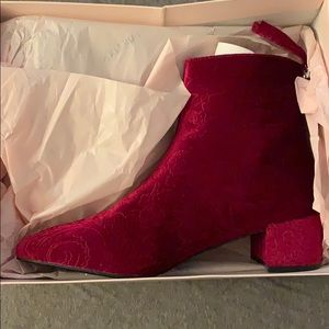 Burgundy velour booties!